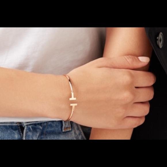 Tiffany Co Accessories Tiffany Co T Wire 18karat Rose Gold Bracelet Poshmark